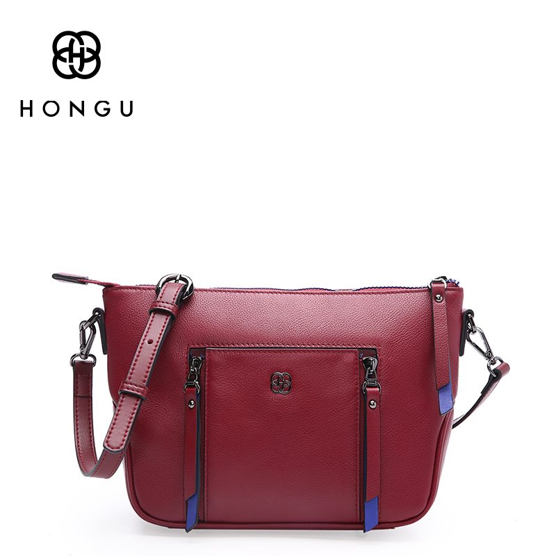 HONGU Luxury Top Cowhide Genuine Leather Messenger Bag For Women Handbag Shoulder Bags Famous Brand leather Tote Ladies Bag 2017 цена и фото