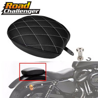 for Harley Sportster XL 1200 883 72 48 Black Motorcycle Passenger Rear Seat Pad Leather Pillon