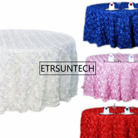 Decor Hotel Party Wedding 305cm Round Tablecloth 3D Rosette Embroidery Table Cloths Square Red White Gold Pink Blue Table Cover