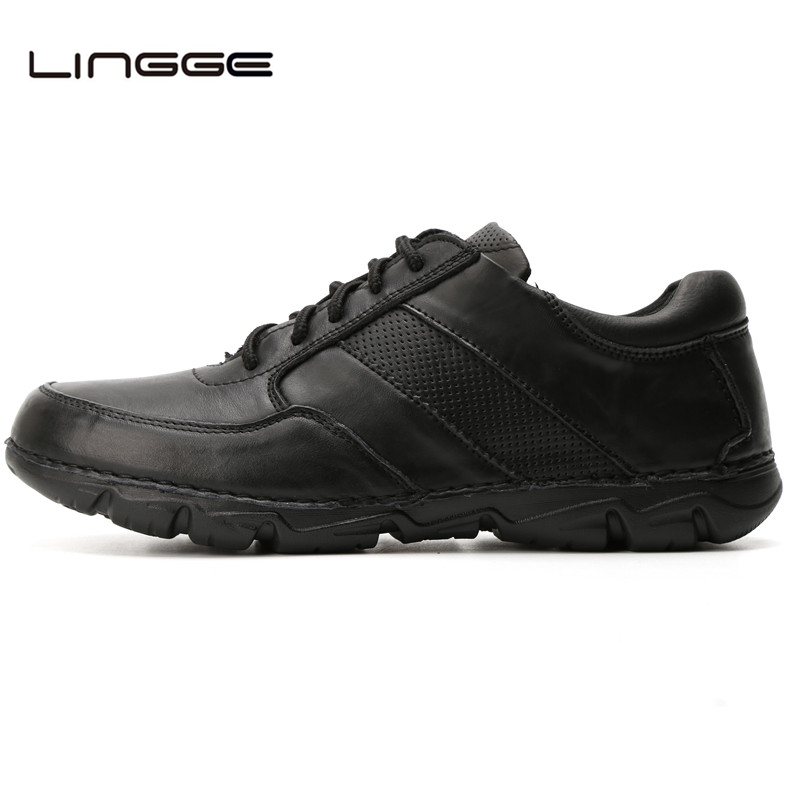 LINGGE New Arrival Men's Leather Shoes, Lace Up Casual Men Flats, Brand Fashion Man Breathable Loafers Shoes #5327-11 top brand high quality genuine leather casual men shoes cow suede comfortable loafers soft breathable shoes men flats warm