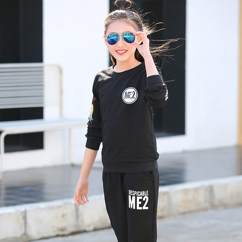 2018 Spring Girls Clothes 10-16Y Children Sweatshirt + Pants Kids Tracksuit For Teenage Girls Clothing Sets Girls Sport Suit retail 2pcs brand new design girls clothing sets for kids autumn tracksuit for girls velvet jacket pants children sport suit