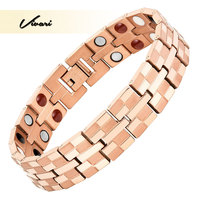 Vivari 2017 Healing Men 4in1 Rose Gold Magnetic Bracelet Titanium Magnets Negative Ions Germanium Far Infra