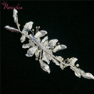 Image 5 - 手作りゴージャスな葉結婚式の毛の櫛花嫁のヘアアクセサリージュエリー光沢のあるクリスタルウェディングかぶとRE3376