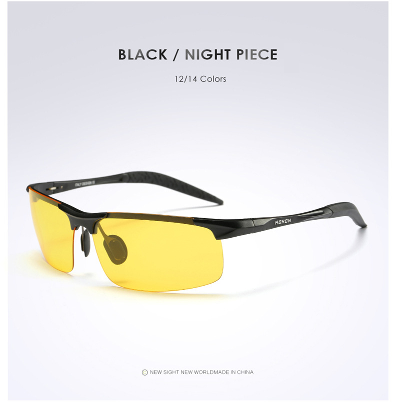 AORON Driving Polaroid Sun Glasses Aluminum Frame Sports Sunglasses Men Polarized Driver Retro UV400 Anti-glare Goggles 8