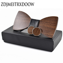 Fashion font b Wedding b font Wood Bow Tie Cufflinks Set font b Mens b font