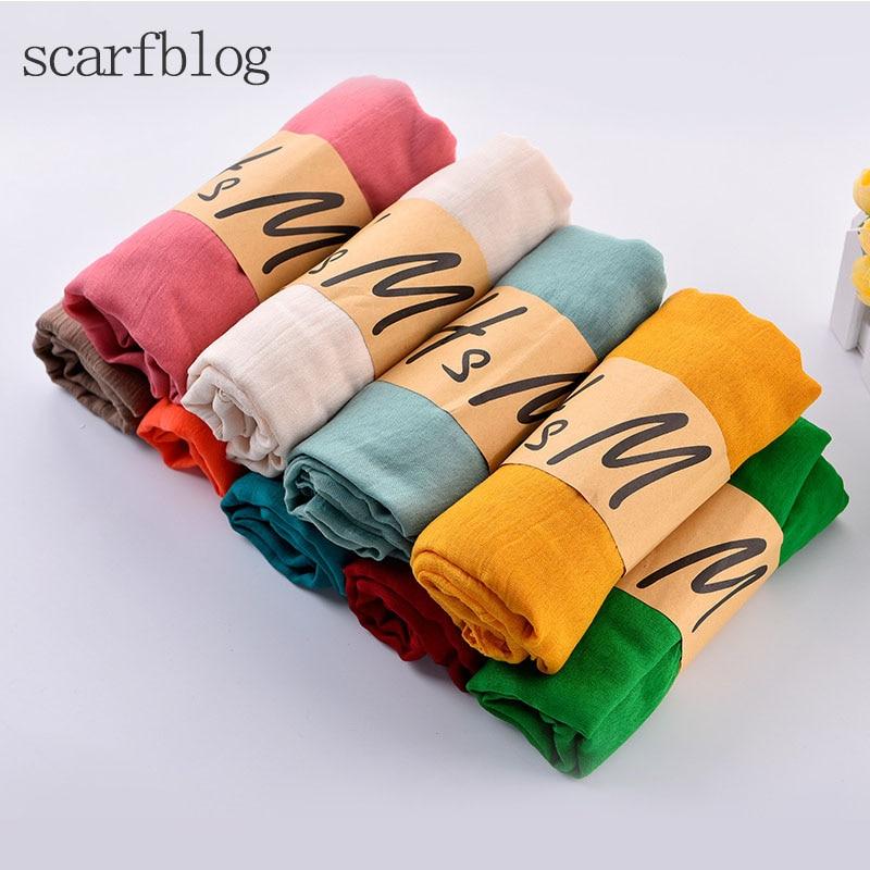 Scarfblog Female Scarf Shawl Cotton and Linen Scarves Women Solid Color Foulard Fashion Elegant Foulard Hot Sale Warp Studios