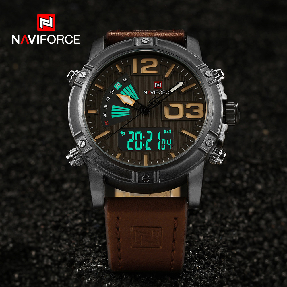 NAVIFORCE Top Brand Men's Fashion Sport Watches Men Quartz Analog LED Man Leather Military Waterproof Watch Relogio Masculino