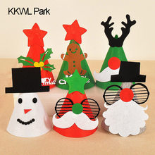 Funny Christmas Hat DIY Handmade Gifts Blankets Cloth Decoration Cartoon Santa Claus Hat Child Happy Hats(China)