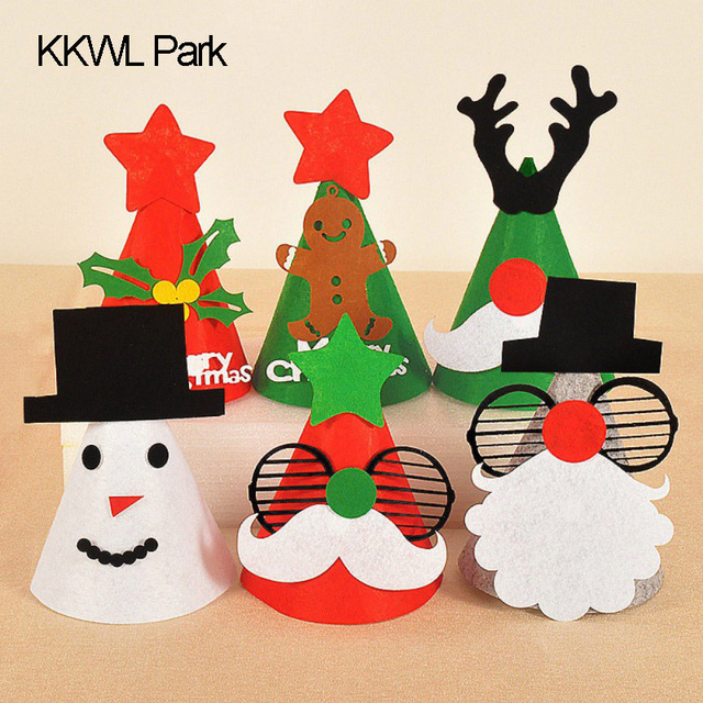 53f3b816379 Funny Christmas Hat DIY Handmade Gifts Blankets Cloth Decoration Cartoon  Santa Claus Hat Child Happy Hats