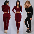 spring summer fall 2016 fashion womens two piece outfits solid sexy hooded crop top casual women clothing 2 pieces sets