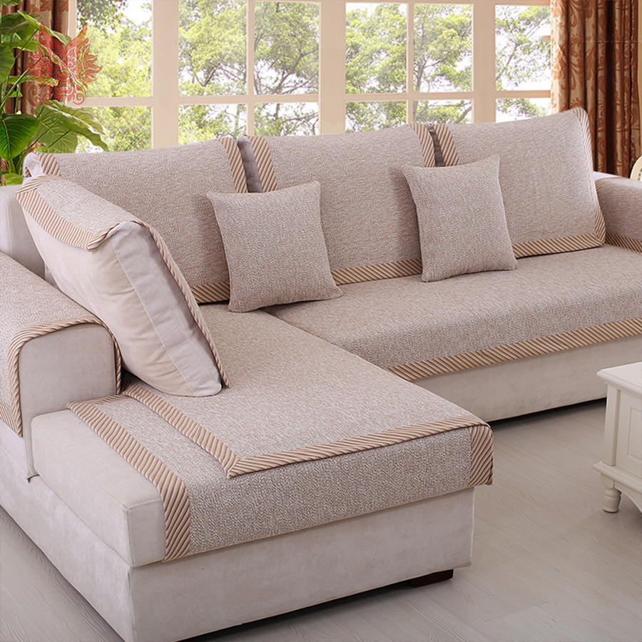 American style beige coffee cotton blended sofa cover slipcovers canape furniture couch covers sectional fundas de sofa SP3751