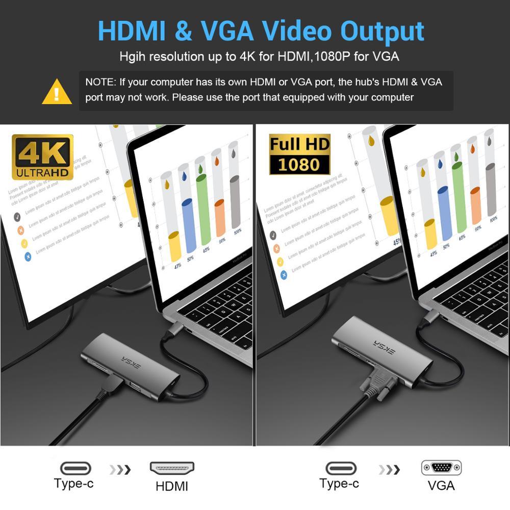 EKSA USB-C HUB Type C HUB to 4K HDMI 3.5mm Audio RJ45 Adapter Multi USB 3.0/2.0 for MacBook Pro Samsung Galaxy S9 USB C HUB