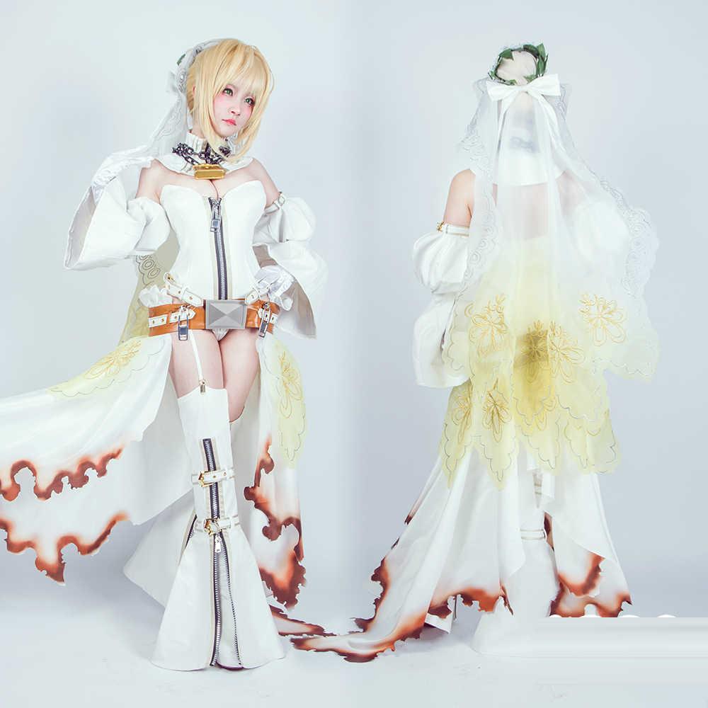 0fe4fe22c05 ... Fate Grand Order Saber Nero Cosplay Costume White Bride Wedding Dress  uniform Carnival Halloween costume for ...