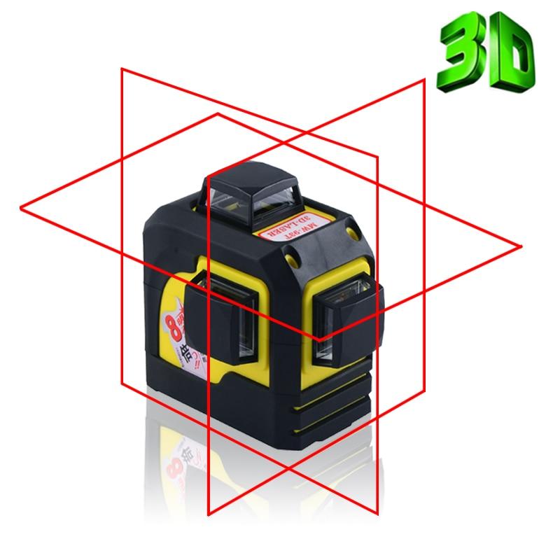 Fukuda 8Lines 3D Laser Level Self Leveling 4 Horizontal 4 Vertical 360 Rotary Cross Super Powerful