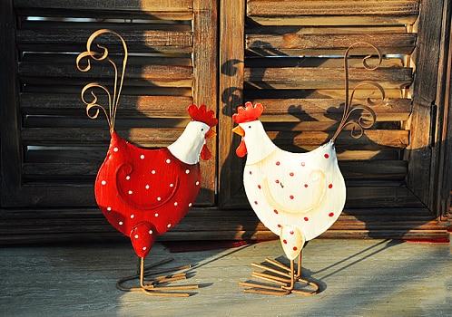2 Pcs Vintage Look Rustic Red Metal En Wedding Gift Rooster Hen D Home Decor