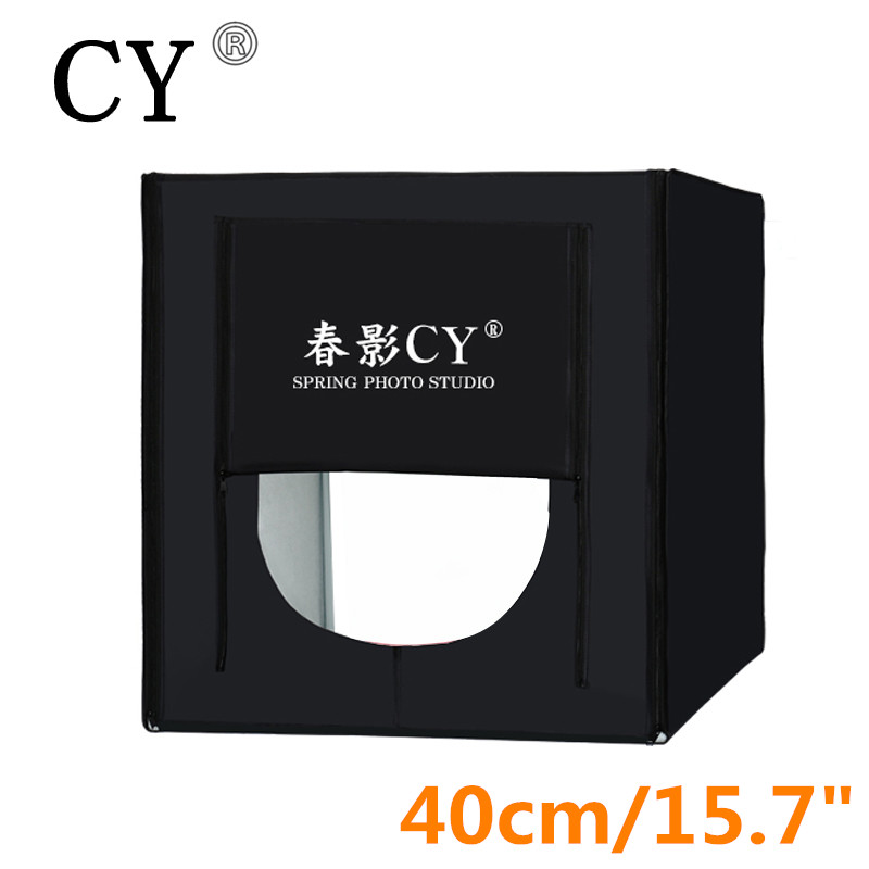 CY 40*40cm LED Photo Studio Softbox Shooting Light Tent Soft Box+Portable Bag +AC Adapter for Jewelry Toys Shoting Fast Shippin cy 70 70 70cm led photo studio softbox shooting light tent soft box portable bag ac adapter for jewelry toys shoting