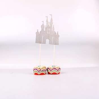 Peachy Best Price 3Z9Ks 1Pc Lot Silver Castle Cupcake Toppers Picks Funny Birthday Cards Online Inifofree Goldxyz