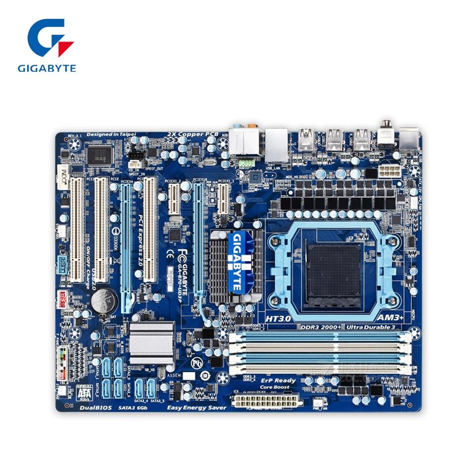 Gigabyte GA-870-UD3P Original Used Desktop Motherboard 870-UD3P 870 Socket AM3+ DDR3 SATA3 USB2.0 ATX gigabyte ga ma770 es3 original used desktop motherboard amd 770 socket am3 ddr2 sata2 usb2 0 atx