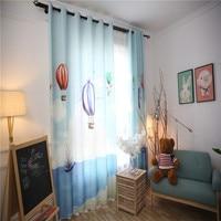 Boys Children Room Shade Curtains Blue Mediterranean Style Green Fabrics Curtain Fabrics Bedroom Window Blackout Curtains