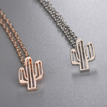 Cute Metal Enamel Cactus Pendant Necklace Jewelry Wholesale For Women drop shipping(China)