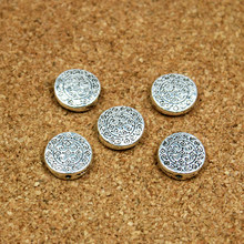 New Fashion 10pcs/lot 4*12mm Alloy Flat Round Beads Charms Antique Silver Plated Beads For DIY Necklace Making(China)