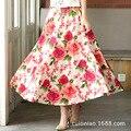 Grande falda mujeres falda larga de algodón de lino falda de la señora Hawaii flower folk custom ropa mujer