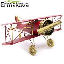 ERMAKOVA 29CM or 27cm Metal Handmade Crafts Aircraft Model Airplane Model Biplane Home Decor Furnishing Articles(Red Color)