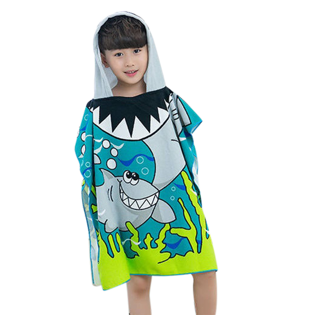 Shark Muster Strand Handtuch Kinder Mit Kapuze Mantel Cartoon Baby