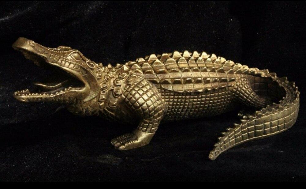 95b5995e3913 China FengShui Brass Bronze animal Crocodilian Alligator Crocodile Cayman  Statue-in Statues   Sculptures from Home   Garden on Aliexpress.com