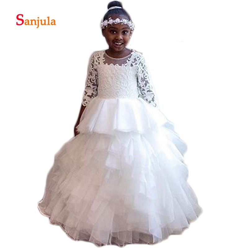Three Quarter Sleeve Ball Gown   Flower     Girls     Dresses   Appliques Tiered Skirt Princess Little   Girls   Wedding Party   Dresses   D170