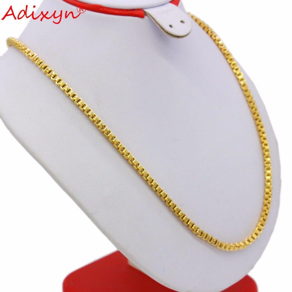 Adixyn Длина 45 см/60 см Ширина 5 мм поле золотой цепи Цвет ожерелья для Для женщин/Для мужчин в африканском стиле эфиопский арабский Индии подарк...