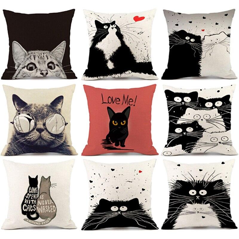 Vintage white and black Cat Dog Cotton cute Pillow Sofa Waist Throw Cushion Home Car Decor