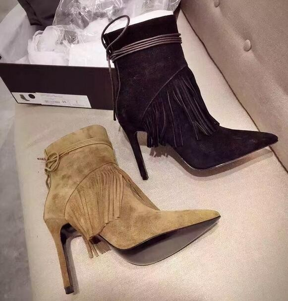 Newest Fashion Women shoes Hot Sale Tassels Pointed Toe High-Heeled Boots Autumn Winter Black Brown Suede Leather Lace-up front lace up casual ankle boots autumn vintage brown new booties flat genuine leather suede shoes round toe fall female fashion