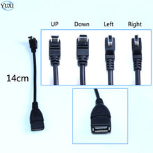 YuXi USB 2.0 Female naar Mini USB B Type 5pin 90 Graden Up & Down & Left & Right Angled mannelijke Datakabel