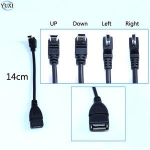 Image 1 - YuXi USB 2.0 żeńskie do Mini USB typu B 5pin 90 stopni w górę i w dół oraz w lewo i w prawo pod kątem mężczyzna kabel do transmisji danych