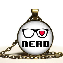 2016 Hot Sale Nerd Pendant Geek Necklace Gamer Jewelry Fashion 27MM Round Pendant Choker Necklace Men Women