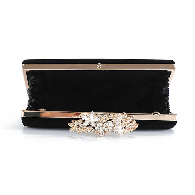 女性のイブニングクラッチバッグパーティー黒クラッチ財布絶妙なダイヤモンドの花ロック結婚式バッグベロアハンドバッグショルダーバッグ ZD1281