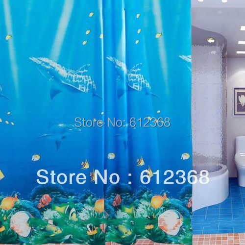 5pcs Blue Dolphin Pattern Tropical Fish Coral Ocean PEVA Bath Waterproof Shower Curtain with 12 Hooks