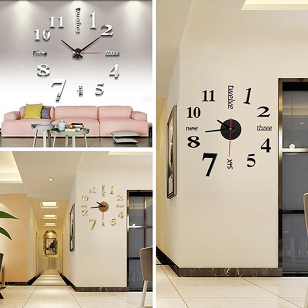 Diy Wall Clock 3d Sticker Arabic Numeral Clock English