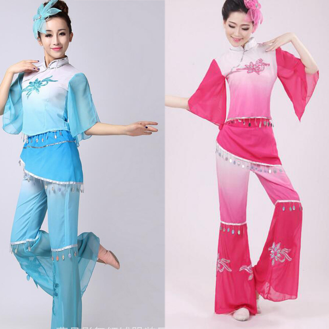 b3d91c840 Lady Younger chinese folk dance costume women's drum dance performance wear  fan dance clothes outfits