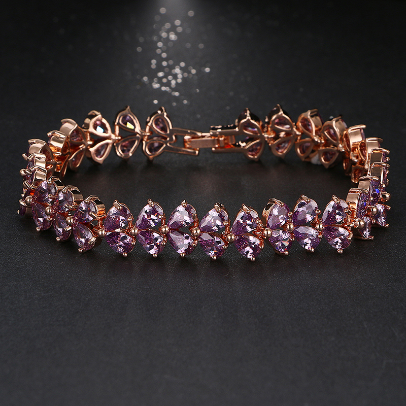 Emmaya Luxury Purple Cz Bangle Bracelet Diseño único Rose Gold Color Pear Cut AAA Cubic Zirconia Bracelets para mujeres