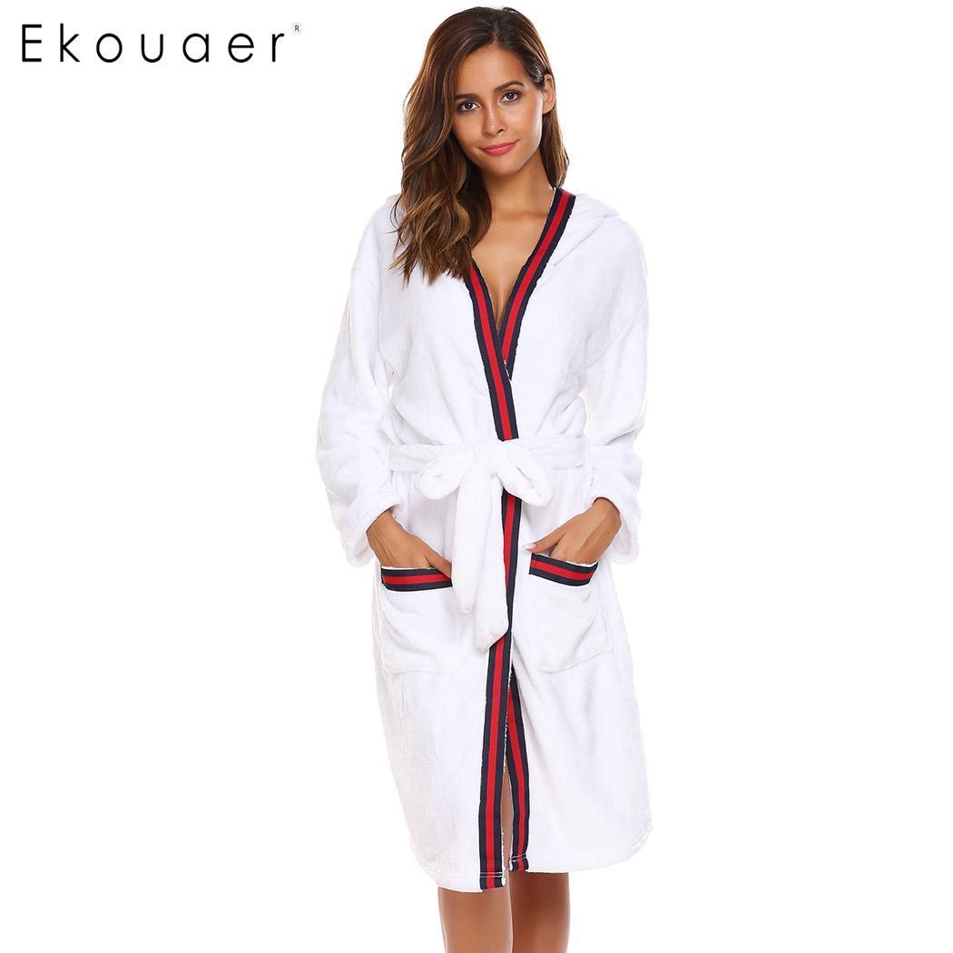 ce6d3dc2f8 Aliexpress.com   Buy Ekouaer Sleepwear Robe Women Bathrobe Casual Long  Sleeve Hooded Women Warm Winter Kimono Spa Bath Robes from Reliable Robes  suppliers ...