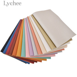 Lychee 21x29cm A4 Litchi Faux Leather Fabric Solid Color Suede Synthetic Leather DIY Sewing Material For Garments(China)