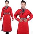 Red dress manga larga mongol mongolia ropa nacional de la danza disfraces ropa de año nuevo festival de danza disfraces