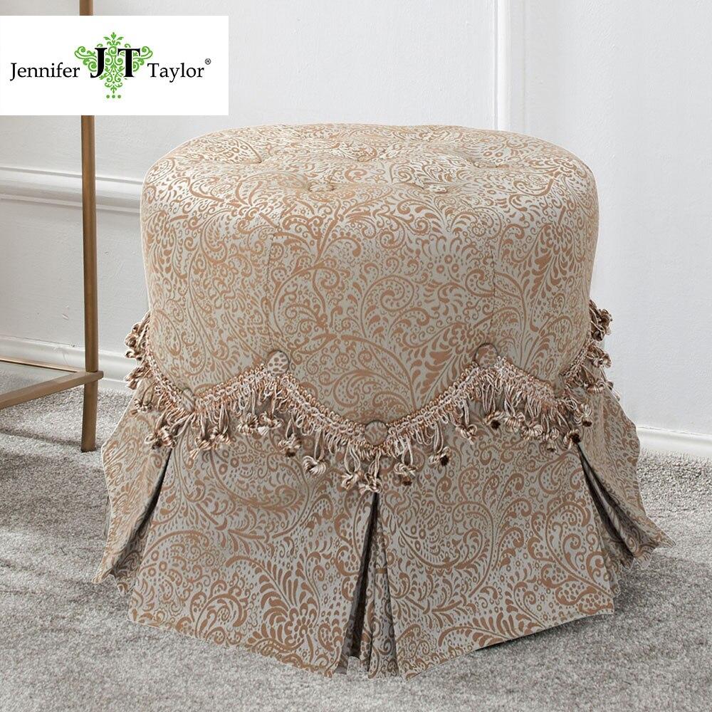 Sensational Jennifer Taylor Home Vanity Stool Flocked Silk Dupioni Creativecarmelina Interior Chair Design Creativecarmelinacom