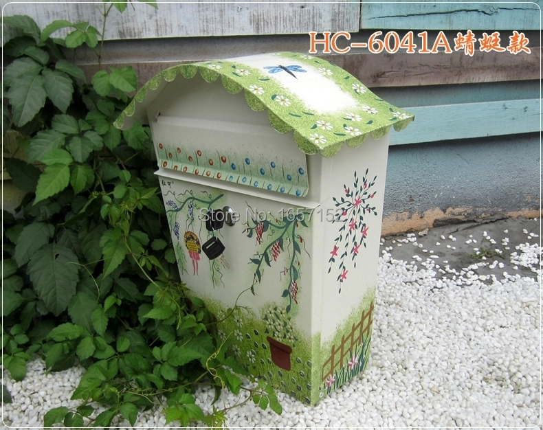 Rustic color dragonfly painting patterns large metal iron mailbox Wall Mount Metal Post Letters Box Thickening letter box