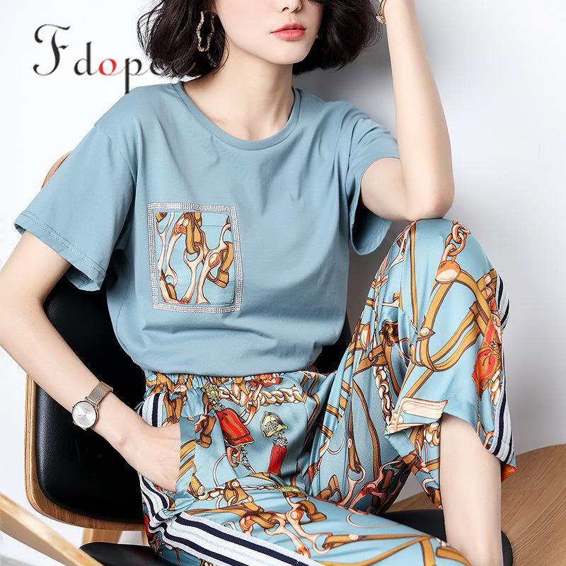 2019 2 Piece Set Women Retro Fashion Casual Ladies Office Ol Design Printing Short Sleeve Elegant Elastic Waist Legged Two Suit