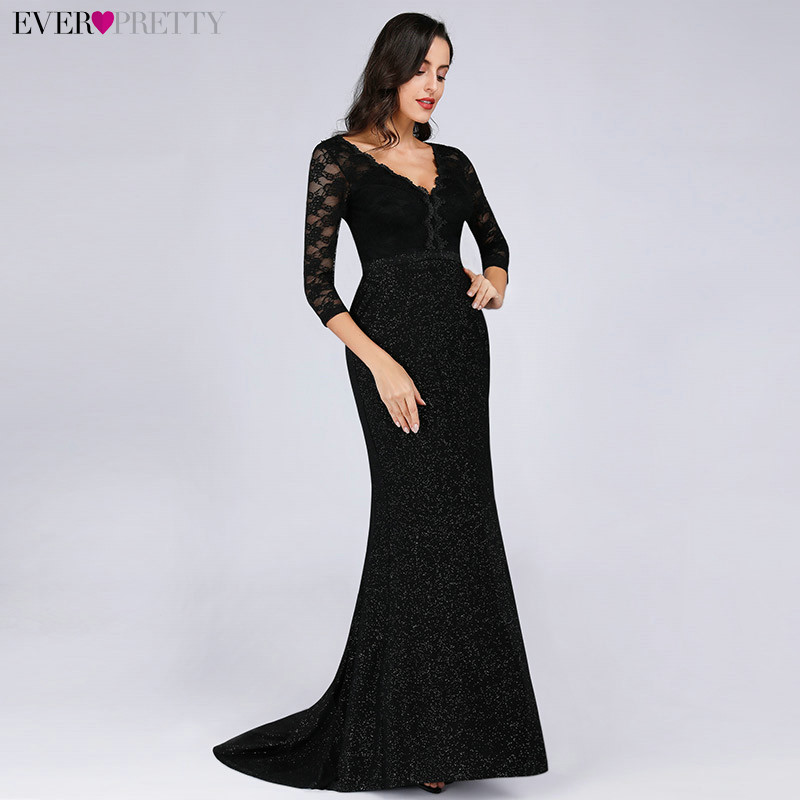Sparkle Evening Dresses Long 2019 Ever Pretty EP07856 Women Elegant Half Sleeve Lace V-neck Black Mermaid Long Prom Party Gowns