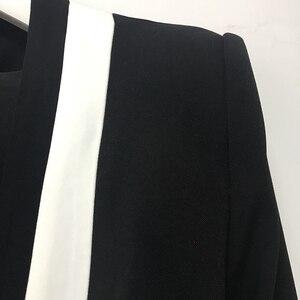Image 5 - 高品質新ファッション 2020 デザイナーブレザージャケット女性クラシックブラックホワイト色ブロック金属ボタンブレザー