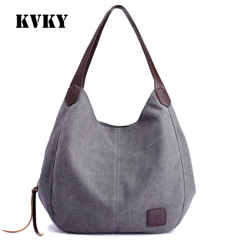 KVKY European style vintage canvas solid fashion women only shoulder bag vogue classic youth gils casual tote popular handbag european youth policy regarding active youth participation